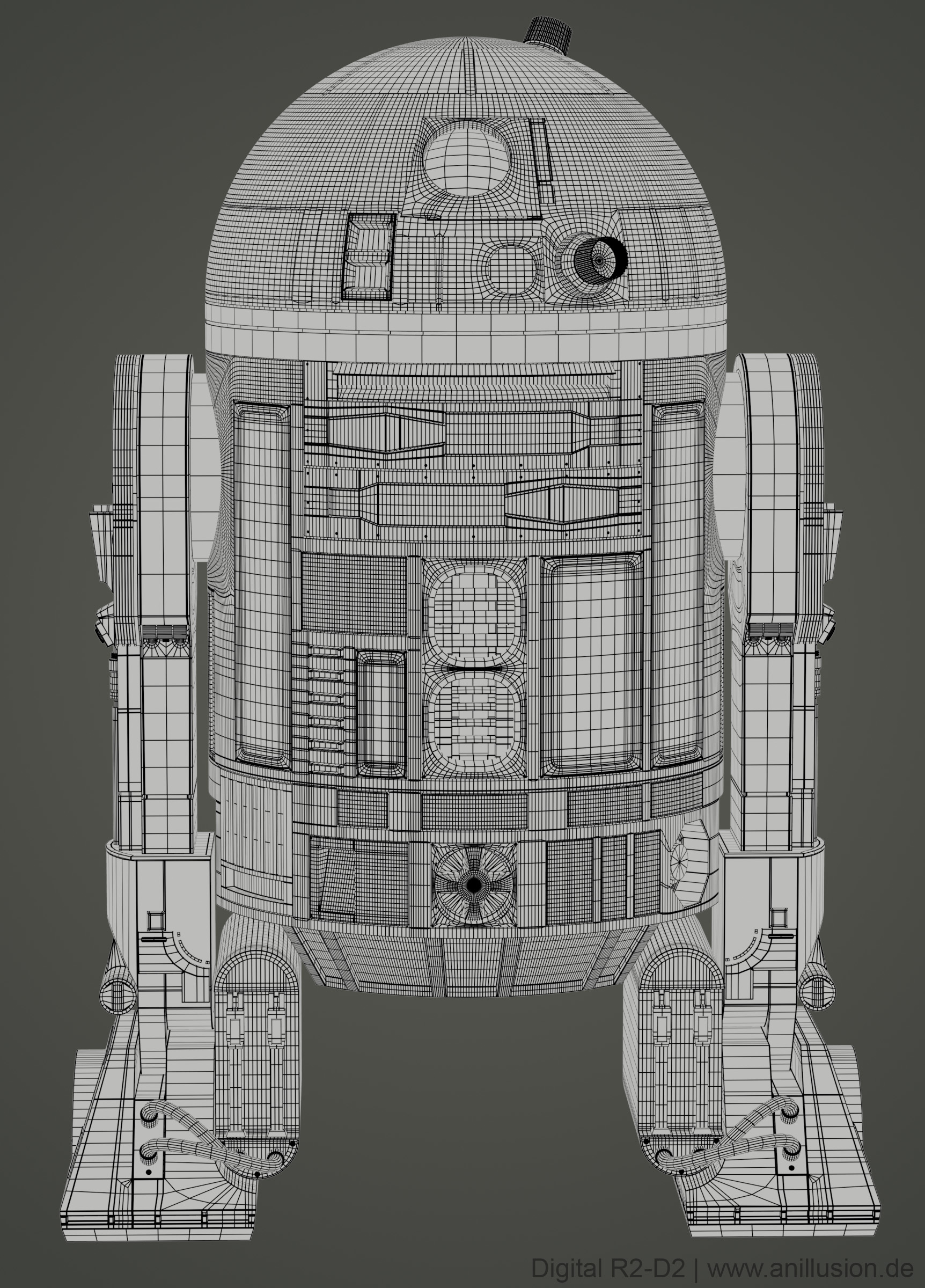 R2D2_Modelling_Front_Wireframe